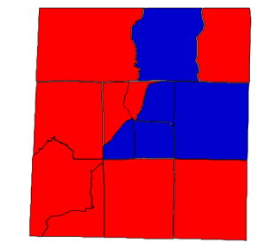 2012 presidential election results in Person County (blue = Obama; red = Romney)