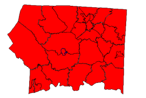 2012 presidential election in Surry County (blue = Obama; red = Romney)