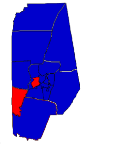 2012 presidential election results in Vance County (blue = Obama; red = Romney)