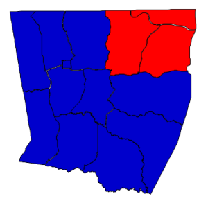 2012 presidential election results in Warren County (blue = Obama; red = Romney)