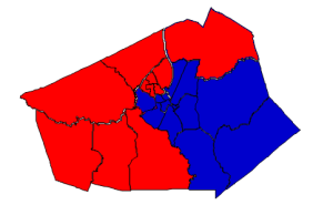 2012 presidential election results in Wilson County (blue = Obama; red = Romney)