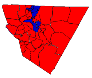 2012 election results in Cabarrus County (blue = Obama; red = Romney)
