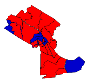 2012 presidential election results in Craven County (blue = Obama; red = Romney)