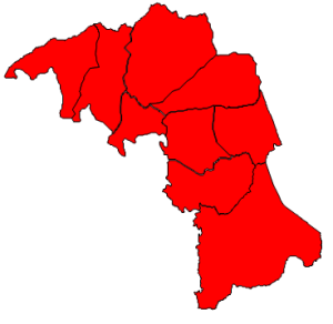 2012 presidential election results in Mitchell County (blue = Obama; red = Romney)