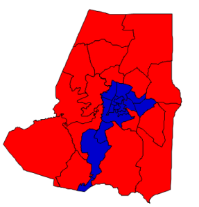 2012 presidential election results in Wayne County (blue = Obama; red = Romney)