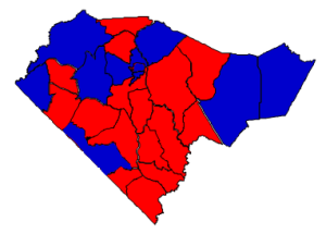 2012 presidential election results in Columbus County (blue = Obama; red = Romney)