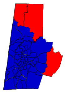 2012 presidential election in Durham County (blue = Obama; red = Romney)
