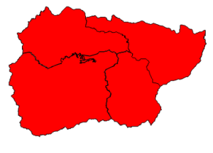 2012 presidential election results in Graham County (blue = Obama; red = Romney)