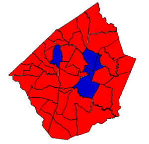 2012 presidential election in Johnston County (blue = Obama; red = Romney)