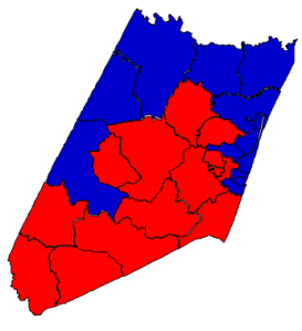 2012 presidential election results in Nash County (blue = Obama; red = Romney)