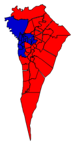 2012 presidential election results in New Hanover County (blue = Obama; red = Romney)