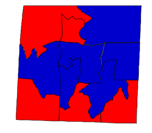 2012 presidential election results in Caswell County (blue = Obama; red = Romney)