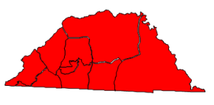 2012 presidential election results in Clay County (blue = Obama; red = Romney)