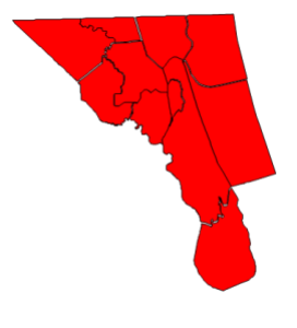 2012 presidential election results in Currituck County (blue = Obama; red = Romney)