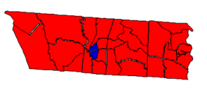 2012 presidential election results in Lincoln County (blue = Obama; red = Romney)