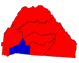 2012 presidential election results in Polk County (blue = Obama; red = Romney)