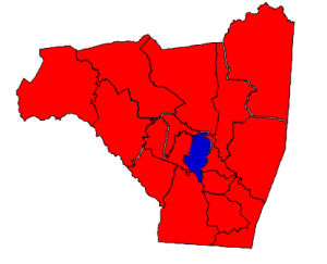 2012 presidential election results in Rutherford County (blue = Obama; red = Romney)