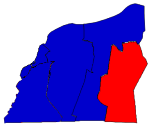 2012 presidential election results in Washington County (blue = Obama; red = Romney)