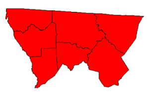 2012 presidential election results in Alleghany County (blue = Obama; red = Romney)