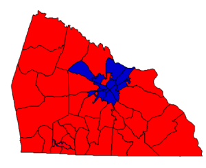 2012 presidential election results in Rowan County (blue = Obama; red = Romney)