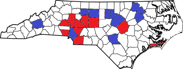 The top ten counties for both Obama and Romney, by net vote margin (blue = Obama; red = Romney)